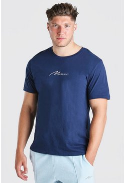 T-shirt Big And Tall à logo inscription HOMME, Marine