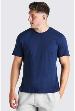 T-shirt long basique big and tall, Marine