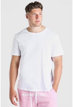 T-shirt long basique big and tall, Blanc