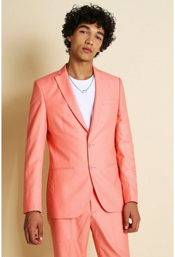 Coral Skinny Plain Suit Jacket