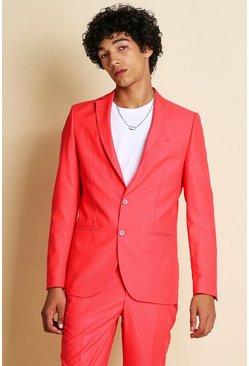 Neon-pink Skinny Neon Suit Jacket