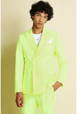 Neon-yellow  Skinny Neon Double Breasted Suit Jacket