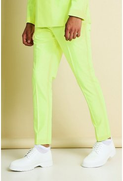 Neon-yellow Skinny Neon Cropped Suit Trousers