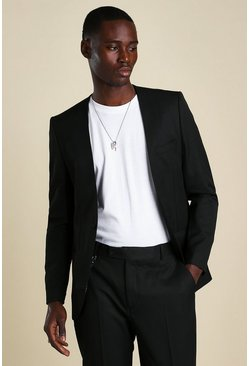 Black Skinny Plain Collarless Suit Jacket