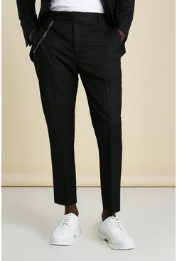 Black Skinny Plain Cropped Suit Pants With Chain