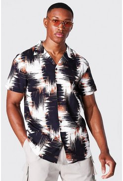 White Short Sleeve Abstract Print Shirt