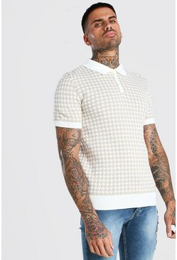 Stone Short Sleeve Dogtooth Knitted Polo