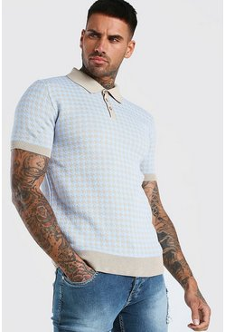 Blue Short Sleeve Dogtooth Knitted Polo