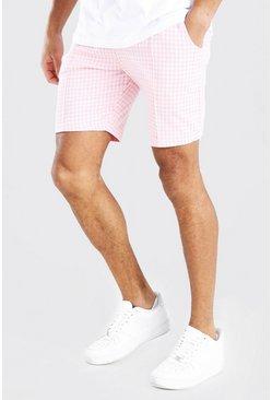 Light pink Dogtooth Pintuck Mid Length Short