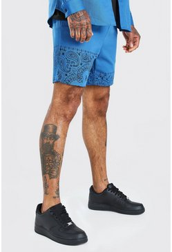 Blue Bandana Panel Twill Shorts