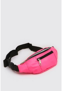 Neon-pink Large PU Neon Fanny Pack