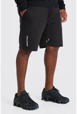 Short Big And Tall inscription officielle 3D HOMME brodée, Noir