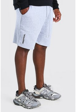 Big And Tall Shorts mit MAN-3D-Stickerei, Grau