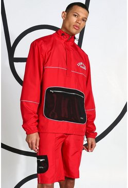 Red Tall Ripstop Tracktop With Reflective Piping