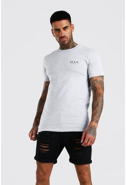 MAN Roman Print T-Shirt , Grey marl