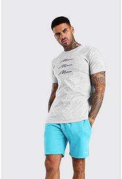 Grey marl MAN Signature Repeat Print T-Shirt