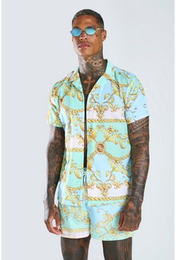 Mint Short Sleeve Baroque Shirt & Swim Short Set