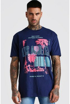 Navy Oversized Los Angeles Printed T-Shirt