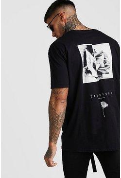 Black Oversized Fearless Flower Back Print T-Shirt