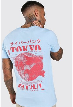 Blue Tokyo Fish Back Print T-Shirt