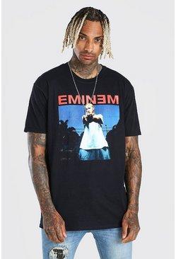 Black Oversized Eminem License Print T-Shirt
