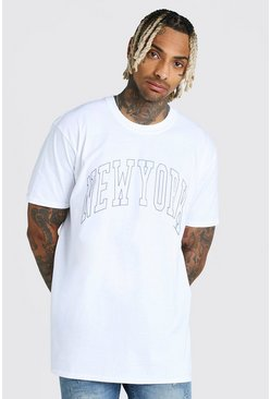 Oversized New York Print T-Shirt , White