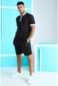 Black Pique Zip Polo & Short Set With MAN Embroidery
