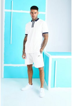 White Pique Zip Polo & Short Set With MAN Embroidery