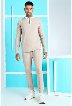 Taupe Pique Zip Polo & Pintuck Jogger With MAN Embroidery