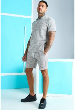 Grey Jacquard Polo & Pintuck Short With MAN Embroidery