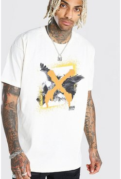 Oversized Eagle Graffiti Print T-Shirt, Ecru