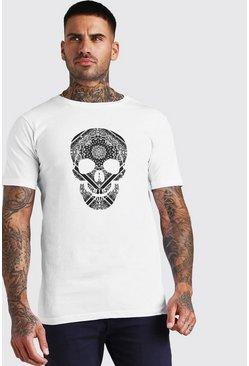 White Bandana Skull Print T-Shirt