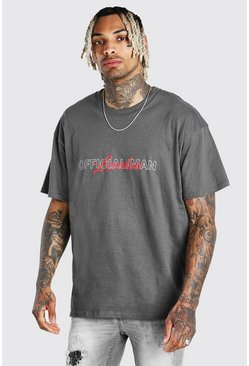 Oversized MAN Official London Print T-Shirt, Anthrazit