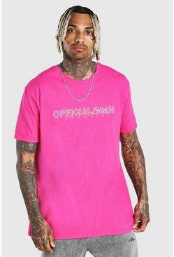 Pink Oversized Official MAN Milan Print T-Shirt