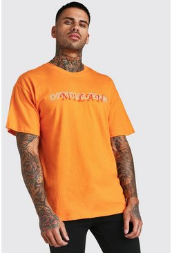 Orange Oversized Official MAN Milan Print T-Shirt
