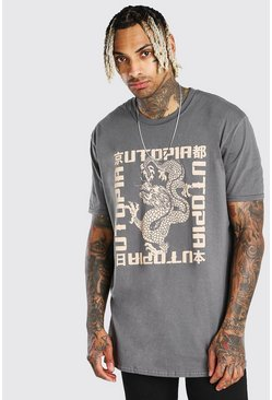 Oversized Utopia Dragon Print T-Shirt , Charcoal