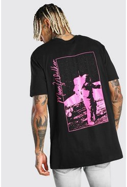 Oversized Neon Astronaut Back Print T-Shirt , Black