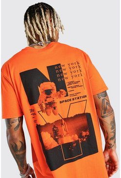Orange Oversized Astronaut Back Print T-Shirt