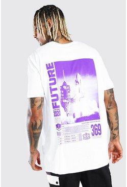 White Oversized Rocket Front & Back Print T-Shirt