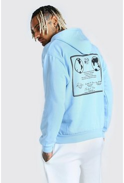 Blue Oversized Nasa Front & Back Print License Hoodie