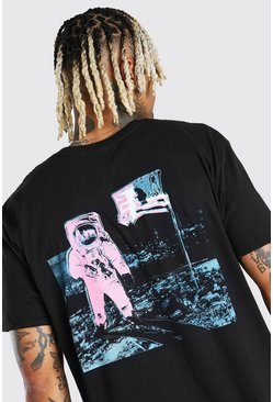 Black Oversized Nasa Front & Back Print License T-Shirt
