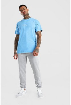 Cornflower blue Oversized MAN Signature Overdyed T-Shirt