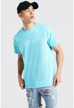 Oversized MAN Signature Overdyed T-Shirt , Turquoise