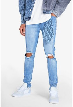 Ice blue Stretch Skinny MAN Rip And Repair Jeans