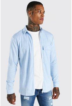 Blue Long Sleeve Utility Pocket Check Overshirt