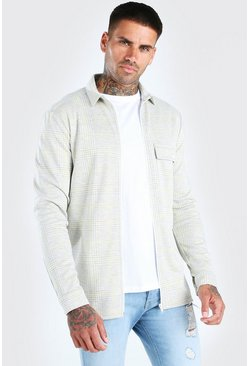 Grey Check Zip Through Overshirt