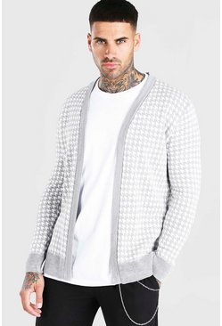 Grey Dogtooth Knitted Cardigan