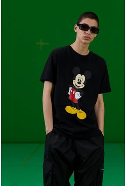 Black Disney Mickey Print T-Shirt