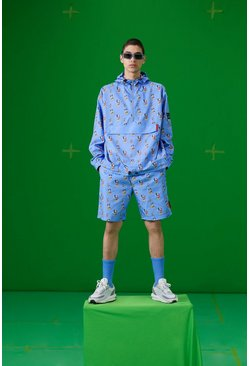 Blue Disney All Over Mickey Print 1/4 Zip Cagoule