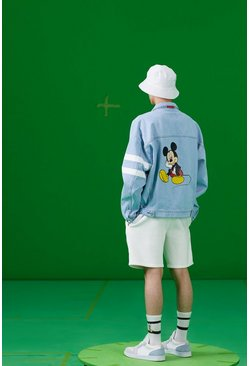 Blue Disney Loose Fit Denim Jacket With Mickey Back Print